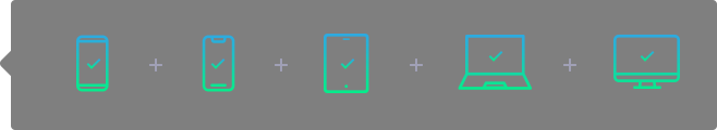 Ícones de diferentes dispositivos móveis aos quais o nosso desenvolvimento de apps se adapta